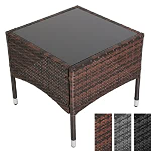 Miadomodo table basse de jardin terrasse 50 x 50 x 45 cm couleur gris a - Table basse terrasse ...
