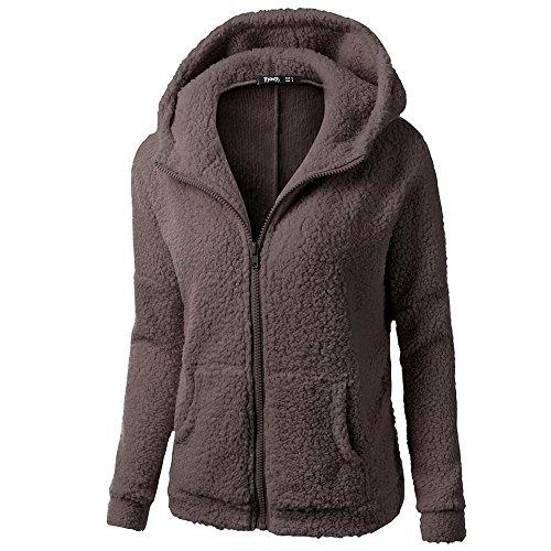 iHENGH Damen Winter Jacke Dicker Warm Bequem Slim Parka Mantel Lässig Mode Frauen Mit Kapuze Pullover Wolle Reißverschluss Baumwollmantel Outwear(Kaffee, 5XL) -