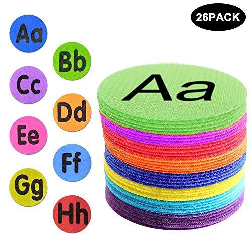 Volwco 26 Stück Alphabet-Boden-Marker, Teppich-Spot-Marker mit Alphabet für Kindergarten, Vorschulkinder und Lehrer, 10,2 cm, 8 Farben
