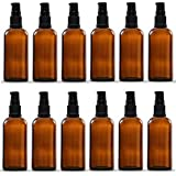 12 sets of 50ml Amber Color Round Glass Bottle with Lotion Pump & Cap – For Essential Oils, Blends, DIY Perfume, Cosmetics, Beauty Products