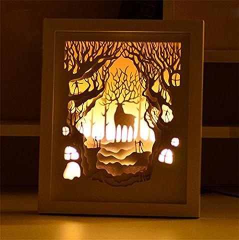 GJY LED BELEUCHTUNGKreatives 3D Stereoskopisches Licht Und Schatten Papier Geschnitzt Kalk Hirsch Papier Schneiden Licht Bett Atmosphäre Lampe Dekoration Tischlampe Nacht Licht Geschenk , (Tv Set Kostüm)
