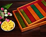 Craftbell Elegant Multi Coloured Wooden Serving Tray Set Of 2 In Steam Beach Wood Dinnerware & Serving Pieces, Serving Tray, Breakfast Table, Wooden Tray, Table Décor, Kitchen Serveware Dining Accessory, Breakfast Coffee / Tea Table Tray, Butler Serving Tray For Gift / Christmas Gift / New Year Gift