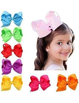 Lance Home 16 pz Fasce Elastico Cerchietti con Fiocco per Capelli Bambine Multicolori