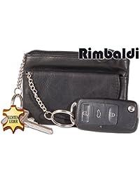 Rimbaldi - Doppel-Schlüsseltasche mit 2 getrennten Fächern und Schlüsselringen aus weichem, naturbelassenem Kalbsleder in Schwarz