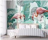 YUANLINGWEI Benutzerdefinierte Fototapete Wandbild Einfache Flamingo Tier Tropische Blätter Muster Seide Wandbild Geeignet Für Zuhause Wohnzimmer Hintergrund Wanddekoration,190Cm (H) X 270Cm (W)