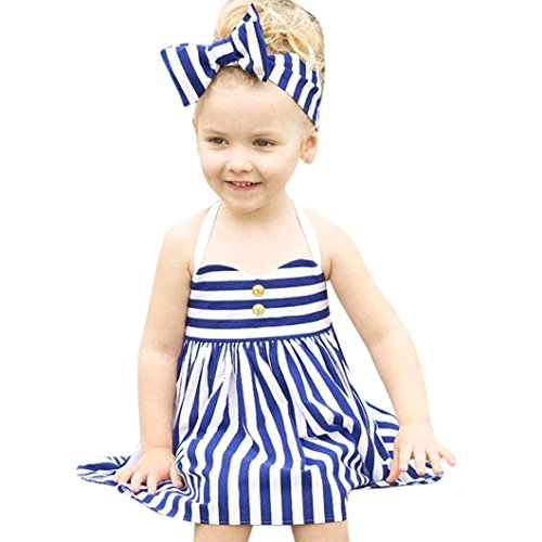Baby Sets, SHOBDW Toddler Kids Baby Girls Outfits Clothes Summer Princess Dress+Headband 2PCS Sets (2-3Y, Blue)