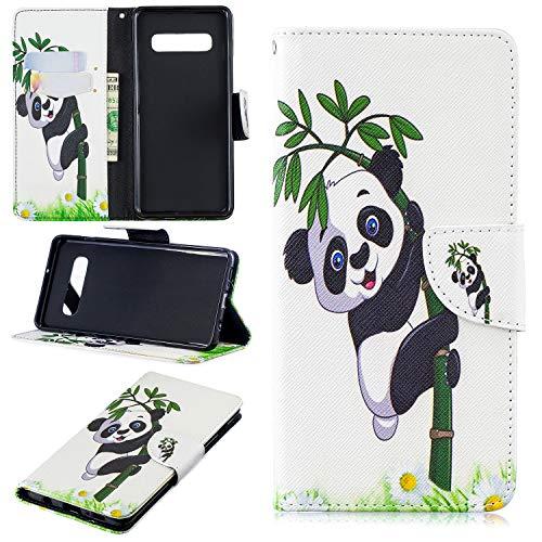 Ostop Portefeuille en Cuir Coque pour Samsung Galaxy S10e,Stand Étui Imprimé Motif Panda Bambou Blanc Housse Fermeture Magnétique à Rabat Fentes Cartes Antichoc Couverture