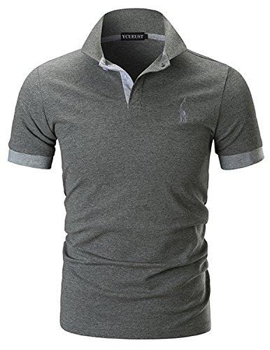 YCUEUST Nummer 3 Poloshirts Herren Kurzarm Kontrast Polohemd Polo Shirts Regular Fit Grau EU XL