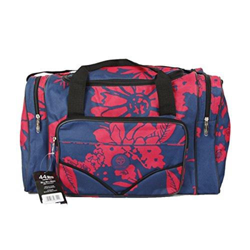 Friendz Trendz-Zwei Seitenfächer Reisen Sport Transport Holdall Duffle Bag (Regency Spot white/blue) Bloom red/navy