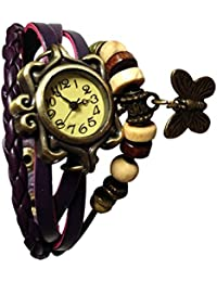 Indium Purple Dory Look Watch With Attractive Butterfly Watch Fancy Look