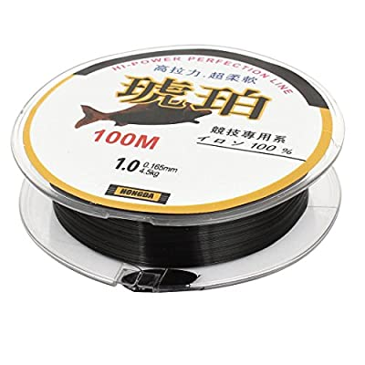Black 4.5kg Load 0.165mm Dia Nylon Fishing Line Thread Reel 100M 1#