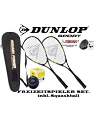 Dunlop - Juego de raquetas de squash (2 unidades, se incluye pelota)