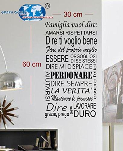 ADESIVI MURALI PER LA CASA colore a scelta WALL STICKERS REGOLE DELLA CASA STICKER FRASE AFORISMA ADESIVO MURALE (LARGE 60 X 30 CM.)
