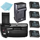 Battery Grip Kit for Canon Rebel SL1 EOS 100D Digital SLR Camera Includes Vertical Battery Grip + Qty 4 Replacement LP-E12 Batteries + Battery Charger
