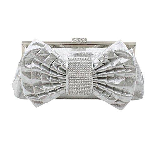 MNBS Damen Abendtasche Clutch Handgelenktasche Unterarmtasche Handtasche große Schleife auffällig edel Damentasche adelig klassisch Silber