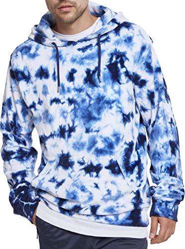 Urban Classics Herren Velvet Tie Dye Hoodie Kapuzenpullover, Mehrfarbig (Wht/Indigo 01464), L -