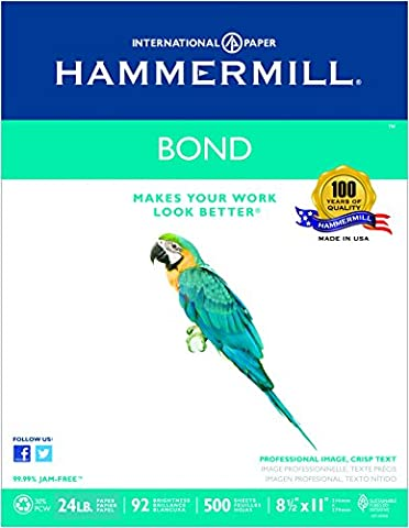 Hammermill Paper, Bond 30% Recycled, 24lb, 8.5 x 11, Letter, 92 Bright, 500 Sheets / 1 Ream (118331R), Made iN The USA