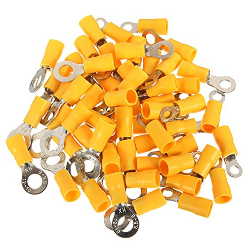 ChaRLes 20Pcs 4-6Mm² Yellow Ring Heat Shrink Electrical Terminals Connectors - 6mm (Ring Terminals Connectors)