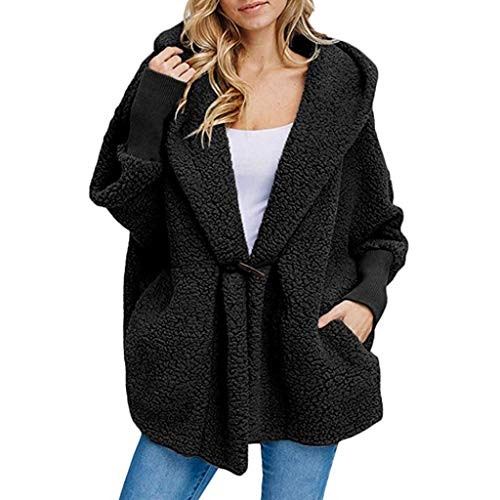 Tianwlio Mäntel Herbst Winter Damen Jacken Parka Warme Jacken Strickjacken Mode Knopf Taschen Winter mit Kapuze Lange Hülse Plüsch Mantel Schwarz M