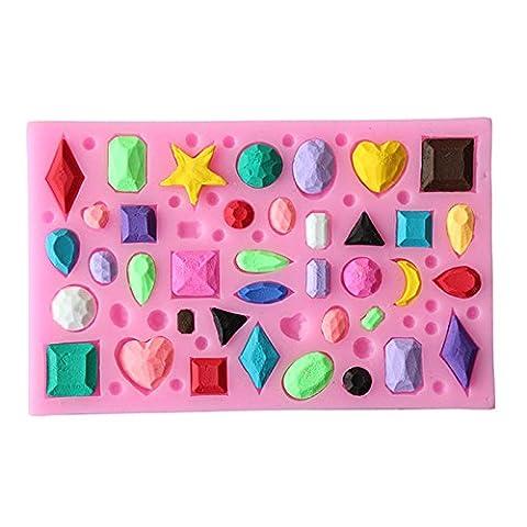 Lugii Cube DIY chaque Situation Pierre précieuse Forme liquide Moule en silicone Fondant Moule à Cake outils de cuisson Rose