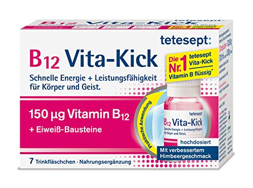 tetesept B12 Vita-Kick Trinkampullen - Ergänzungsmittel mit hochdosiertem Vitamin B12 & Eiweißbausteinen - Himbeergeschmack - 1er Pack mit 7 Trinkfläschchen [Nahrungsergänzungsmittel]