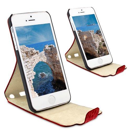 """PLM """"Anamur"""" Python Braun Apple iPhone 5S, iPhone 5 Flip Case Ledertasche Hülle Tasche Cover - Mit 2-stufiger Aufstellfunktion Pitone -  rosso"""