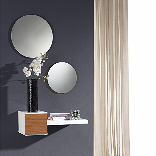 Meuble d'entrée Noyer + miroir - TIGA - L 61 x l 28 x H 20