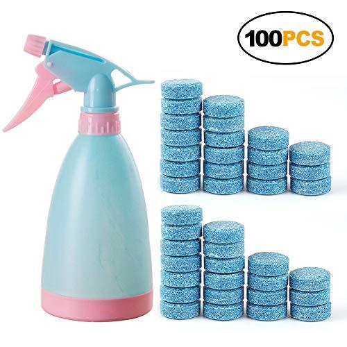 Reinigung stark Kapazität Sprudelnde Spray (zufällige Farbe) + Wasser Spray Flasche Kunststoff Bewässerung 100pcs with bottle blau (Teppich-reiniger Pumpe)