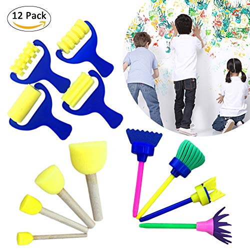 Pivica 12pcs Farbschwämme für Kinder, Early Learning Kids Art & Craft Malerei Zeichenwerkzeuge Mini Flower Sponge Brush