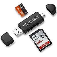 TedGem tarjeta de memoria micro SD / lector de tarjeta Micro SD, USB, Micro USB, OTG a USB 2.0 Adaptador con estándar USB macho, Micro USB macho conector para PC y portátiles Smartphones/Tablets con función OTG