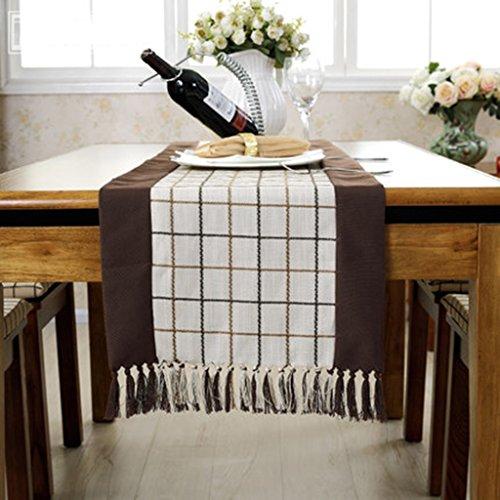 QiangZi Table Chemin De Table Treillis Rustique Napperon Fête D'anniversaire De Mariage Tables Tissu Décoratif Facile Soins Brun, 35 * 180 CM ( Couleur : Blanc , taille : 38*150CM )