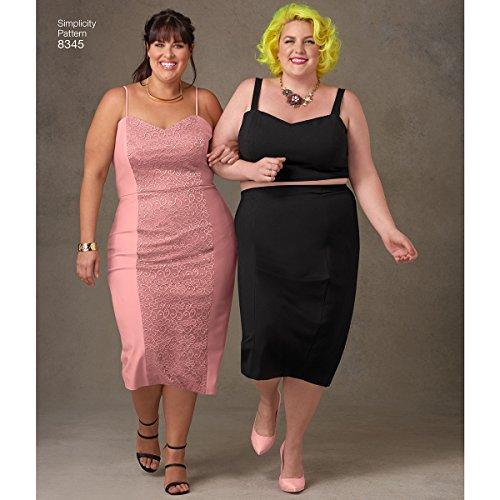 Simplicity 18W-20W-22W-24W-26W Kleid/Top/Rock von Ashley Nell tipt Schnittmuster, weiß, Plus (18w-24w-jacke)
