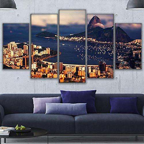 Zum Aufhängen bereit - 5 Stück Gedruckt leinwand malereiMountain View Of The Atlantic Ocean wohnkultur druckplakat rahmen wandkunst - Bild auf Leinwand fünfteilig -