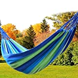 #3: Vellex Camping Canvas Fabric Portable Garden Hammocks Striped Ultralight Outdoor Beach Swing Bed with Strong Rope