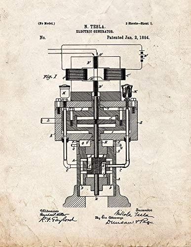 """Tesla M11016 Elektrischer Generator, Patent Print 13\"""" x 19\"""" Old Look"""