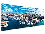 DECLINA Tableau Design Panoramique Ville de Marseille - Impression Photo Ville sur Toile décoration Murale Paysage - Déco Maison, Cuisine, Salon, Chambre Adulte - Multicouleur 80x30 cm...
