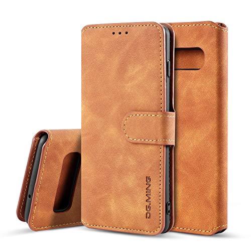 Premium-handy-holster (xinyunew Samsung Galaxy S10 Plus Hülle, 360 Grad Handyhülle + Panzerglas Premium Handy Schutzhülle Leder Wallet Tasche Flip Brieftasche Etui Schale (Braun))