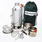 Aluminium 'Base Camp' Kelly Kettle (1.6ltr) - ULTIMATE KIT. (NOW WITH STAINLESS STEEL FIRE-BASE AS STANDARD) Camp cooking made easy. Boil Water Ultra Fast and Cook Food in the outdoors using the famous Kelly Kettle and the Hobo (wood) Stove accessory. Suitable for solo or group use. This Ultimate Kit includes: 1.6 Ltr Alu. Kettle + Cook Set + Pot-Support + Hobo Stove + high quality Cup Set (all Stainless steel) + Carry Bag. This Kettle now comes with an upgraded Stainless Steel Fire-base as standard. Suitable for Fishing & Hunting, Scouts, Car Camping, Fun Family Picnics, power shortages after storms or Emergency Survival Kits. Weight: 3.57lb / 1.62kg - Excluding packaging.