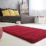 mynes Home Hochflor Teppich Hochwertiger Shaggy Langflor mit 50 mm Florhöhe auch Läufer & Brücke in verschiedenen Farben Premium für Wohnzimmer & Jugendzimmer (Rot, 120cm x 170cm)