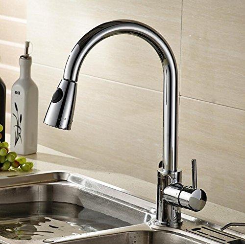 DDHZTA Küche Dehnbare Mischbatterie Drehbare Spülbecken Küche Pull-Freie Gesundheit Schraubenschlüssel-Stil Kupfer - Wasserhahn, Dusche Konverter Spüle,