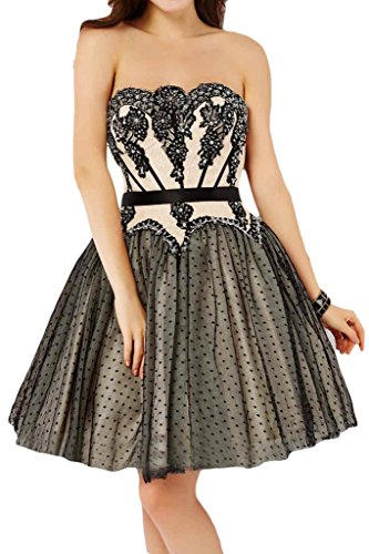 Missdressy Damen Sweetheart Herzform Spitze Applikation Cocktailkleid Abendkleid Schwarz