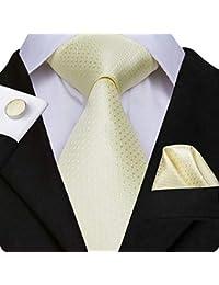 add77c1323b1 Hi-Tie Men Classic Multi-Color Solid Tie Necktie with Cufflinks and Pocket  Square