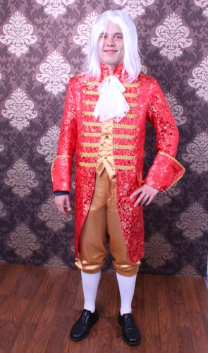Rokoko Kostüm für Herren Gr. L Gehrock Hose Barock rot/gold
