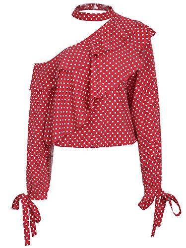 Missy Chilli Damen Oberteile Elegant Schulterfrei Langarm Chiffon Punkte Rüschen Bluse Shirts mit Choker Rot