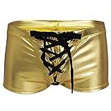Tiaobug Herren Lack Leder Slips Schnür-Optik Schwarz Bulge Beutel Low Rise Sexy String Tanga Mini Strings Erotik Unterwäsche T Back Unterhosen G-String Thong Gold Boxer XL(Taille 86-116cm)