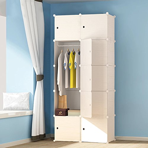 PREMAG Wood Pattern Portable Garderobe für hängende Kleidung, Kombischrank, modulare Schrank für platzsparende, ideale Storage Organizer Cube für Bücher, Spielzeug, Handtücher(10-Würfel) -