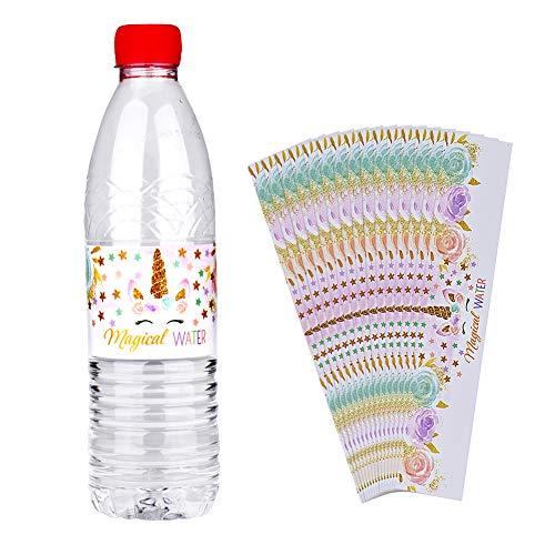 Milo Bart Einhorn Wasser Flasche Wraps, 24 Stück Wasserdicht Aufkleber, Happy Birthday Wasser Flasche Etikette Regenbogen Einhorn Thematisch Party Dekoration (Stil 1)