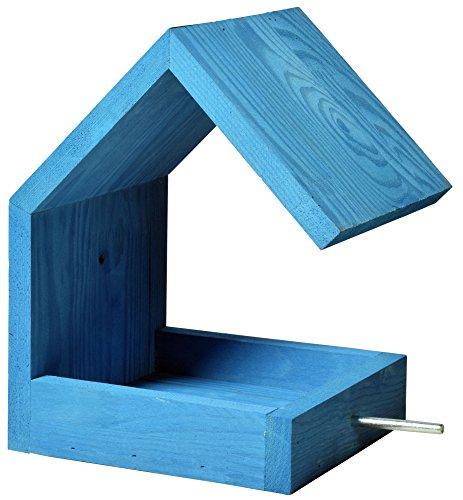 Luxus-Vogelhaus 38463e Vogelfutterhaus aus Holz zum Hängen mit Satteldach und Anflugstange (Vogelhaus), azurblau