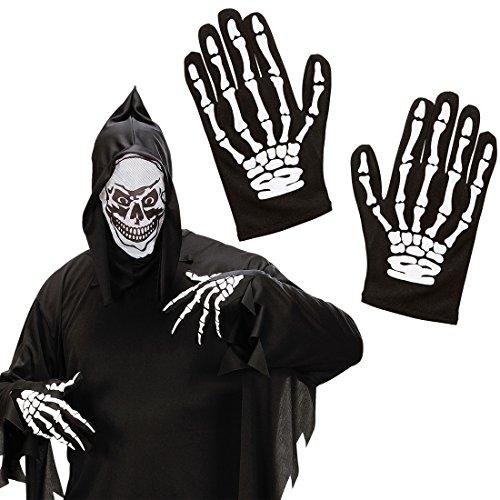 Kinder Skelett Handschuhe Knochen Hände Gerippe schwarz-weiß Halloween Skeletthandschuhe Zombie Skeletthände Knochenhandschuhe Senesenmann Kostüm Zubehör Grim - Und Weiß Schwarz Halloween-handschuhe