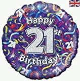 Oaktree 21 anni / 21st HAPPY BIRTHDAY STELLE FILANTI olografico 18 ' Palloncino rivestito
